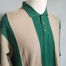 Boston Traders Mens Polo Shirt Sze XL Green Beige Striped Short Sleeve Shirt