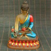 Tibet Temple liu li Coloured glaze Shakyamuni lotus Seat Medicine Buddha statue