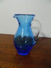 Vintage Blenko Crackle Hand Blown Art Glass Miniature Blue Color Pitcher