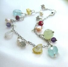 FRESHWATER PEARL or gemstone 9ct white / yellow gold charm bracelet bridal