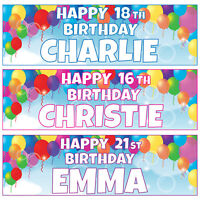 2 x Personalised Balloon Birthday Banners Bubbles Extra Large 900mm x 300mm