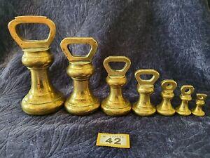Vintage Set Of 7 Avery Brass Bell Weights 7lb 4lb 2lb 1lb 8oz 4oz 2oz