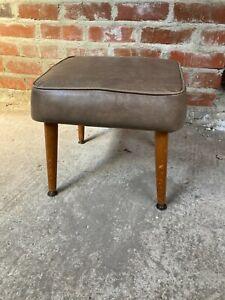 Vintage Brown Faux Leather Square Footstool Stool Dansette Detachable Legs