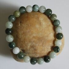 100% Natural Untreated (Grade A) Multi-Color Jadeite Jade Beaded Bracelet #Br466