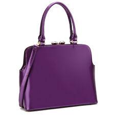 New Womens Handbags Patent Leather Satchel Tote Bag Shoulder Bag Kiss Lock Purse