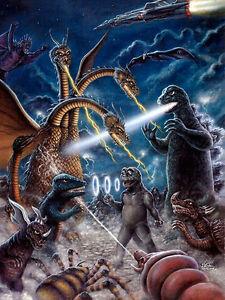 Godzilla DESTROY ALL MONSTERS 1968 Art Print Poster Kaiju fight by Scott Jackson