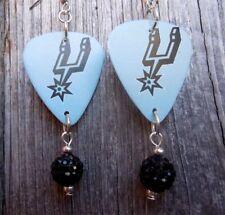 NBA San Antonio Spurs Guitar Pick Earrings with Black Pave Bead Dangles