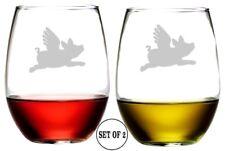 Flying Pig  / Stemless Wine Glasses / Set of 2 / Etched Engraved / 16 Oz