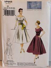 Vintage Vogue Pattern VP958 Size 14 - 22Original 1954 Design