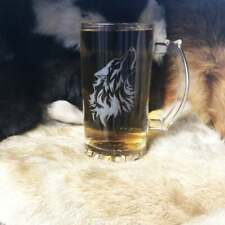 Set Of Four Wolf Fenrir Design Viking Laser Engraved Beer Mug Glass