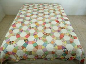 OUTSTANDING Vintage Feed Sack Many Novelty HEXAGONAL WEDDING RING Quilt; QUEEN