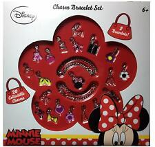 DISNEY Minnie Mouse Kids Charm Bracelet Set: 2 Bracelets + 20 Collectible Charms