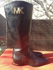 STUN-NING!**** Michael Kors Hayley Fulton MK Logo Leather Riding Boots Size 9
