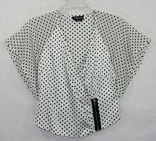 Bebe White Black Polka Dot Zip Surplice Wrap Top Small S Silk Blend EUC