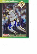 1989 Donruss Mike LaValliere Pittsburgh Pirates Authentic Autograph COA