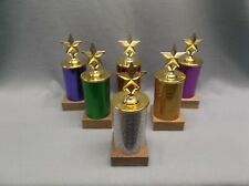 lot of 6 Star trophy award wood base mixed color columns