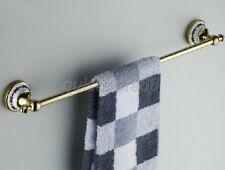 Gold Polished Brass Porcelain Base Bath Accessories Single Towel Rail Bar qba254