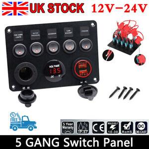 5 Gang Campervan RV 12V LED Light Switch Control Panel Voltmeter USB Charger RED