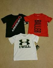 NWT NEW Lot of 3 Under Armour Heat Gear Red Gray White Tops Tee T Shirt 2T