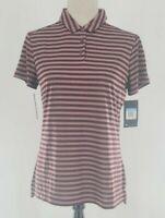 NIKE Women's Dry-FIT Dry Stripe Short Sleeve Golf Polo Burgundy Size S 884867