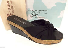 DONALD PLINER Size 11 'Charm' Black Stretch Babric Slide Platform Sandals Shoes