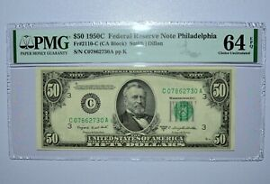 1950-C $50 FEDERAL RESERVE NOTE ✪ PMG 64-EPQ ✪ 2110-C PHILADELPHIA 730 ◢TRUSTED◣