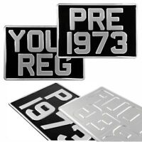Pair 2 Square Black and Silver Pressed Number Plates Car Metal Classic Aluminium