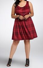 Torrid Red Black Brushed Plaid Skater Faux Suede Dress w/ Belt Sz 12 0 0X #35894