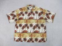 Tommy Bahama Shirt Adult Extra Large Brown Button Up Hawaiian Silk Mens B63 *