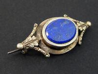 Jolie broche ancienne en argent massif  vermeil et lapis lazuli