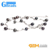 """Fashion Pretty Jewelry 7-8x8-10mm Freshwater Pearl Gold Plated Necklace 18"""""""