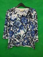 Viyella Ladies Top 3/4 Length Sleeves Multicoloured Floral Cotton Petite Size M