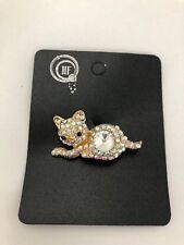 Cute Cat Diamante Brooch Gold metal Bling cat *NEW* kitten gift