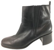 SH15 Clarks 10M Black Leather Ankle Chelsea Boots Zip