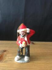 "Flambro Emmett Kelly Jr Hobo Clown Santa 4"" Christmas Ornament Holding Gift"