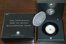 2001 Australia $20 Bi-Metal Millennium Coin w/ Wooden Case & COA Gold and Silver