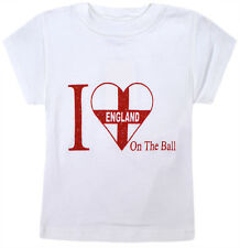 Girls I Love England T-shirt Kids New White Top Age 7 8 9 10 11 12 13 14 Years