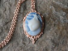 KITTY CAT CAMEO ROSE GOLD TONE COPPER NECKLACE - UNIQUE, CAT LOVERS GIFT