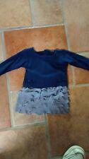 grey ruffled skirt Navy blue knit top fits 23 inch My Twinn doll Handmade  New