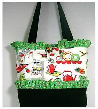 NEW handmade purse tote bag Vintage Kitchen home Nostalgia Retro faffygiraffe