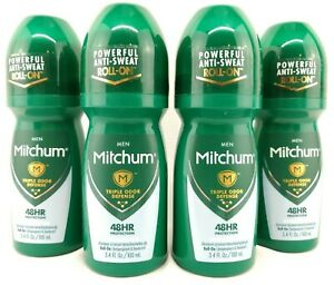 (Pack of 4) Mitchum Men Roll-On Antiperspirant & Deodorant - Unscented - 3.4 oz