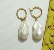 REAL HUGE AAA SOUTH SEA WHITE BAROQUE PEARL Earrings 14K