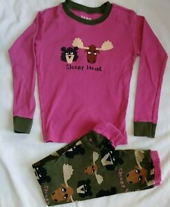 Kids Lazy One Pajamas Sleepy Head Pink Top Green pants Size 10