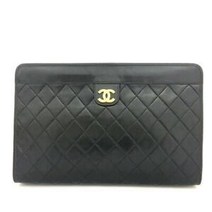 CHANEL Quilted Matelasse CC Logo Lambskin Clutch Bag Black /90197