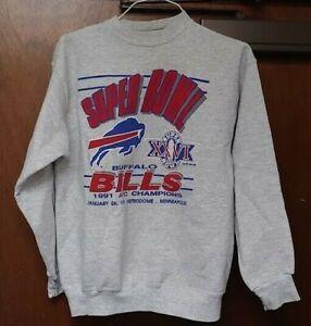 Vintage Buffalo Bills Super Bowl XXVI 1990 Sweat Shirt AFC Champions SZ Adult L