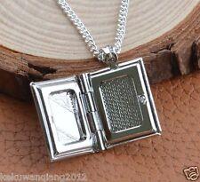 Box Photo Locket Pendant Necklace Silver Circle Rolo Chain Jewerly