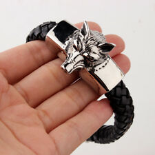 "Men's Hip Hop Silver Stainless Steel Wolf Animal Black Leather Bracelet 8.25"""