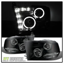 Black Smoked 2009-2018 Dodge Ram Halo Headlights w/Daytime DRL LED Left+Right