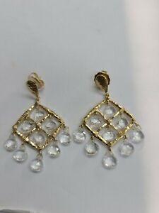 14k Yellow Gold White Topaz Chandelier Dangle Earrings