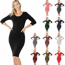 Women's Cotton 3/4 Sleeve Bodycon Fitted Knee Length Midi Dress